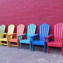 color your mood by Melody Gough - Artistic Objects Furniture ( orange, light blue, red, reno, blue, colorful, chairs, green, empty chairs, yellow,  )