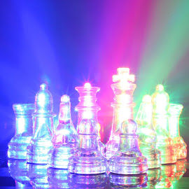 Glowing Chess by Mark Davis - Abstract Light Painting ( light painting, led, queen, chess, king )