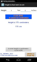 Screenshot of Height Converter feet-inch cm