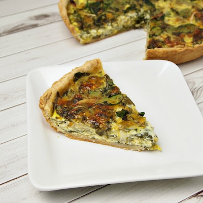 Caramelized Onion, Spinach and Blue Marble Quiche