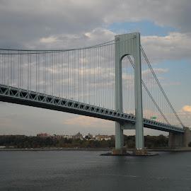 Bridge by Donna Donofrio-Paterson - Buildings & Architecture Bridges & Suspended Structures ( clouds, overcast, bridge, sunlight, landscape )