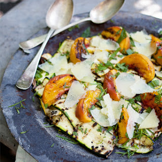 Grilled Summer Squash & Peach Salad with Manchego & White Truffle