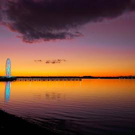 National Harbor DC Sunset by Edgar Zuleta - Landscapes Sunsets & Sunrises