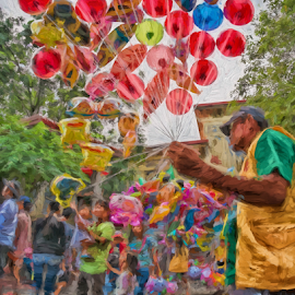 Balloonman by Ferdinand Ludo - Digital Art People ( downtown cebu city, senior sto nino church, vendor, sunday sale )