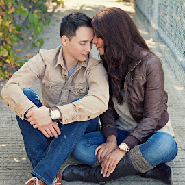 snuggling by Heather Grossnickle Nyren - People Couples ( fall, storm lake, couple, bridge, engagement )