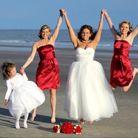 Jumping for Joy! by Darlene Lankford Honeycutt - Wedding Groups ( bridesmaids, deez, wedding, dl honeycutt, beach, bride, flower girl )