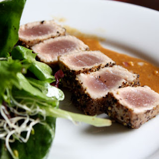 Seared Tuna with Pepper and Soy-Mustard Sauce