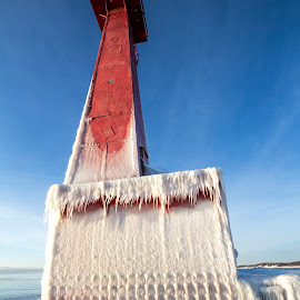 Frozen Lighthouse by Joe Gee - Buildings & Architecture Other Exteriors ( michigan, winter, muskegon, joe gee, ice, joe gee photography, lighthouse, frozen )
