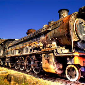 Train on the tracks by Adrian Berghorst - Transportation Trains ( #old, #color, #grunge, #train, #sky,  )