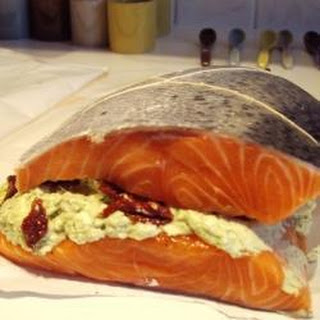Salmon Stuffed with Goats Cheese and Pesto