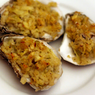 Alton Brown's Baked Oysters with Artichoke and Panko Crumbs