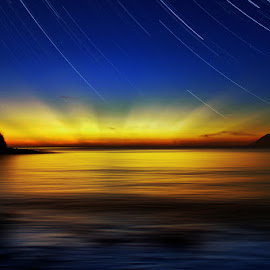 jumping the night by Christian Setiawan - Landscapes Sunsets & Sunrises ( sunset, star, night, jump )