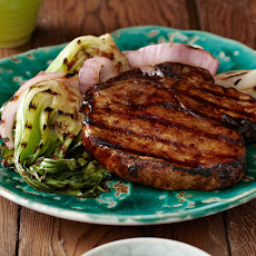 Grilled Korean-Style BBQ Glazed Pork Chops with Red Onions and Baby Bok Choy