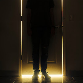 Shhh, they be talkin'. by Luis Rivera - Abstract Light Painting ( door, low light, long exposure, gold, yellow, glowing, high contrast, glow,  )
