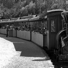 B&W Gold Mining Train by Dave Skorupski - Transportation Trains ( b&w, engine, black and white, track, tracks, women, shadows, flag, shadow, woman, train, mine, gold, men, black, man,  )