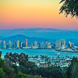 San Diego by Art LA - City,  Street & Park  Skylines ( san diego, skyline, san diego skyline, sunset, california, point loma, mission bay, paradise, pretty )