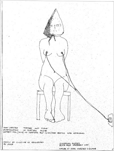 Drawing  by Clive van den Berg, in collaboration with Joyce Dipale, depicting torture she endured during her detention