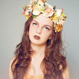 Autumn by Kerri Jean - People Portraits of Women ( orange, headpiece, autumn, limecrime, fall, lips, redhead, flowers, redlips )