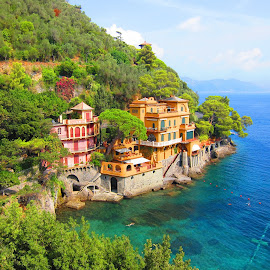 Portofino Home, Italy by Rob Taylor - Buildings & Architecture Homes ( shore, home, harbor, blue, green, ocean, portofino,  )