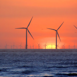 Power Plant at Sunset by John Wain - Landscapes Sunsets & Sunrises ( liverpool sunset, wind farms, liverpool merseyside, crosby liverpool, another place liverpool, wind turbines, liverpool seascape, irish sea sunset, renewable energy, turbines, energy )