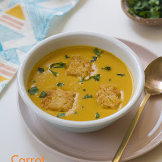 Carrot Curry Coconut Soup with Fried Rice Croutons