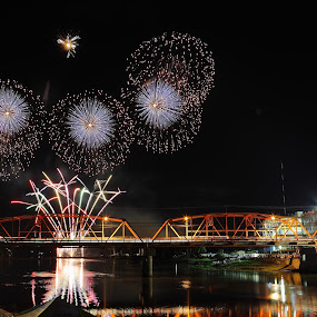 Celebration by Peter Parker - Buildings & Architecture Bridges & Suspended Structures ( city hall, cagayan de oro, cagayan river, fireworks, night, bridge, philippines )