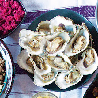 Roasted Oysters with Green Tomato Pickle and Cranberry-Horseradish Relish