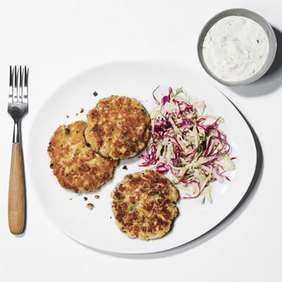 Fish Cakes with Coleslaw and Horseradish-Dill Sauce