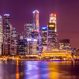 Big City Lights by Keith Walmsley - City,  Street & Park  Skylines ( lights, water, reflection, buildings, cityscape, singapore )