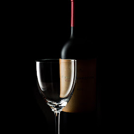 Wine by Luiz Laercio - Food & Drink Alcohol & Drinks ( black background, wine glass, glass, luizlaercio, bottle, black,  )