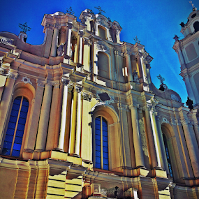 by Monika Norvaisaite - Buildings & Architecture Places of Worship ( vilnius, building, church, yellow )