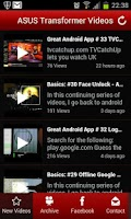Screenshot of Nexus 7 and Transformer Videos