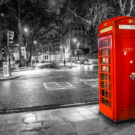 You are not alone by Nerijus Savičius - City,  Street & Park  Street Scenes ( phone, red, london, street, night )