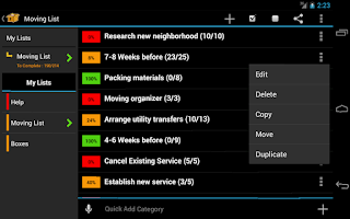 Screenshot of Moving Planner