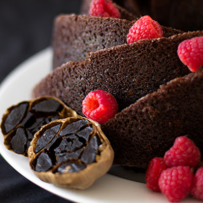 Black Garlic Chocolate Cake with Raspberry Sauce