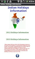 Screenshot of Indian holiday calendar