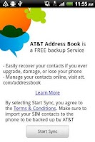 Screenshot of AT&T Address Book