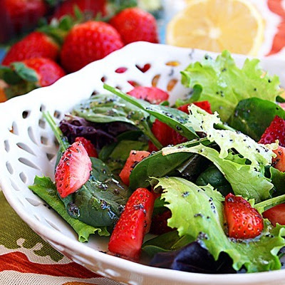 Strawberry and Mixed Green Salad with Poppy Seed Vinaigrette