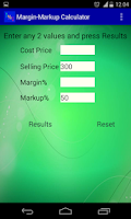 Screenshot of Margin Markup Calculator