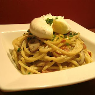 Bucatini Carbonara with Cremini Mushrooms and a Warm Poached Egg