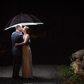 Dancing in the Rain by Brittany Bugaj - Wedding Bride & Groom ( maine, wedding, umbrella, night, rain )