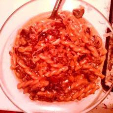 Gemelli al Risotto with Bacon, Radicchio, and Mushrooms