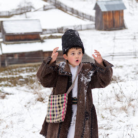 young boy - innocence by Adrian Bercea - People Portraits of Men ( old, vintage, clothes, christmas, children, romania, young, winter, village, snow, tradition, bucovina, boy )