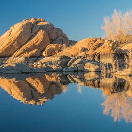 Reflections-Watson Lake 2 by Karen Martin - Landscapes Waterscapes ( water, orange, boulders, reflections, lake, yellow, perscott, watson lake, red, sky, tree, blue, arizona, dells, gold, rocks, granite )