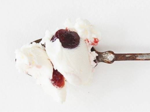 Goat Cheese Ice Cream with Roasted Red Cherries