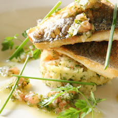 Fillet of Sea Bass with Crushed New Potatoes & a Vierge Dressing