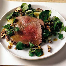 Poached Beef Fillet With Watercress & Walnut Salad