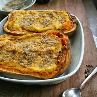 Twice Baked Squashes Topped with Parmesan Bread Crumbs