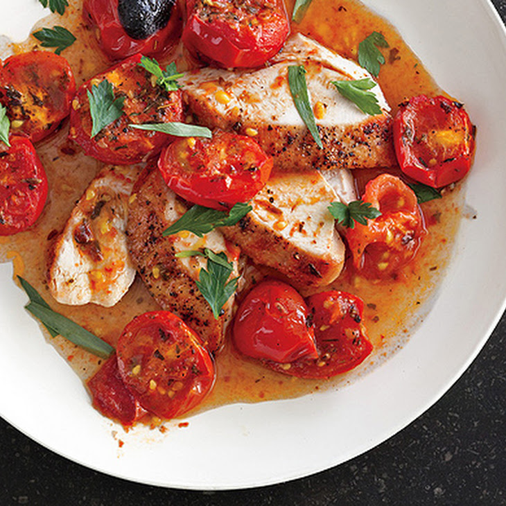 Chicken with Herb-Roasted Tomatoes and Pan Sauce