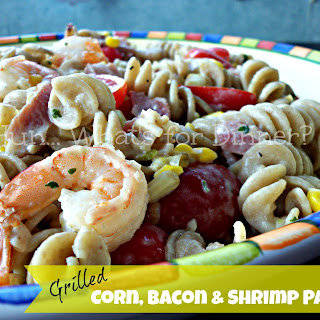 Grilled Corn, Tomato & Shrimp Pasta with Bacon